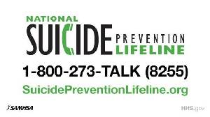 National Suicide Prevention Lifeline at 1-800-273-8255